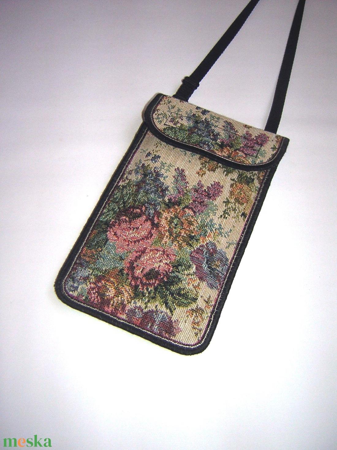 Állítható pántos mobil tok  Plus-os méretű telefonokhoz  gobeline mintás szövött textil  - táska & tok - pénztárca & más tok - telefontok - Meska.hu