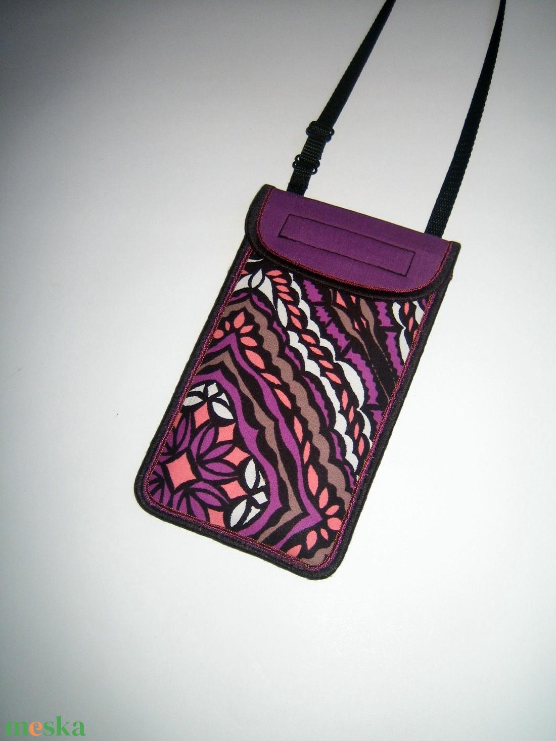 Mobiltok állítható pánttal XL telefon tartó fekete-lila-lazac-fehér kaleidoszkóp mintás - táska & tok - pénztárca & más tok - telefontok - Meska.hu