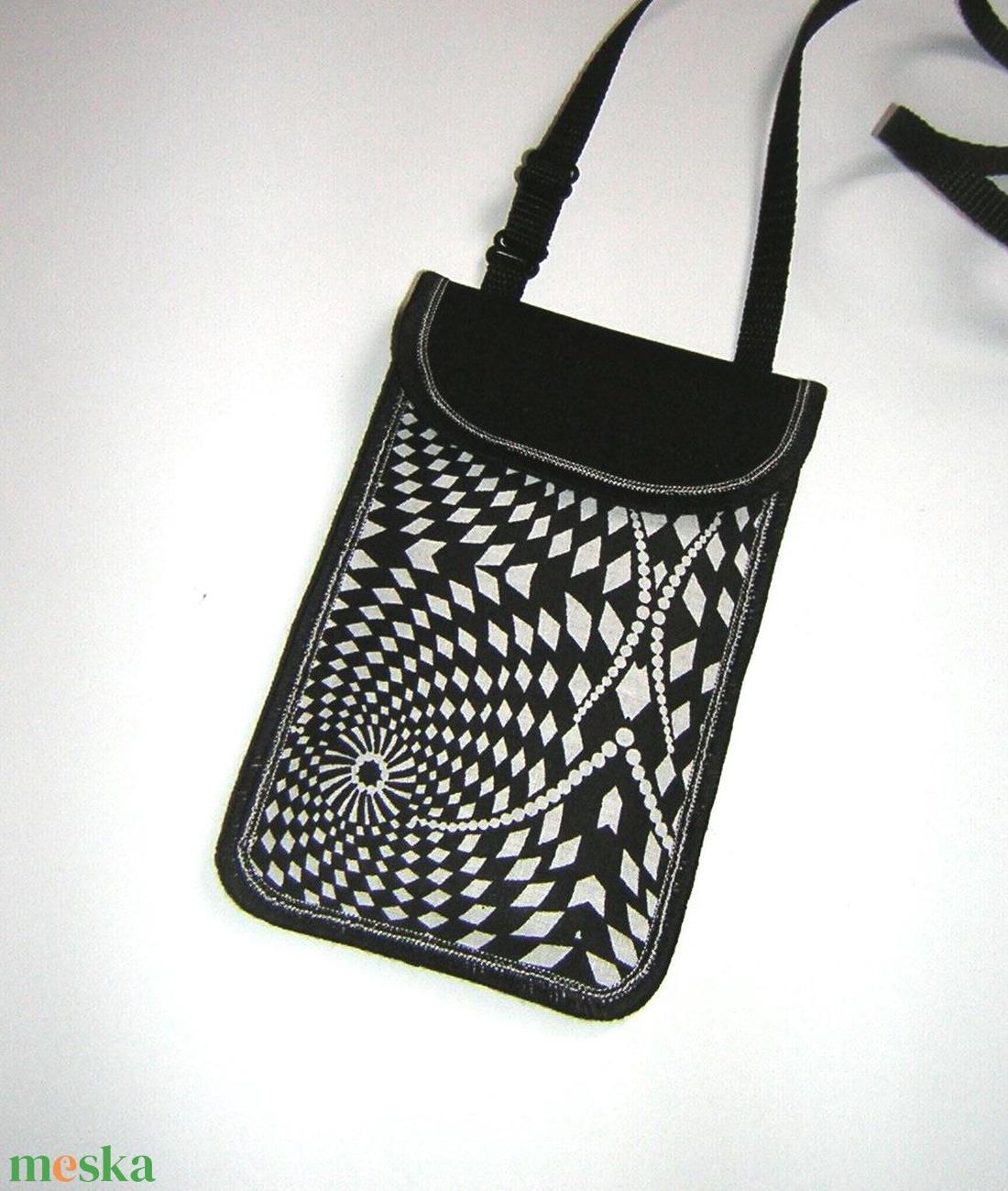 Telefontok állítható pántos mobil tok  fekete fehér kistáska  - táska & tok - pénztárca & más tok - telefontok - Meska.hu
