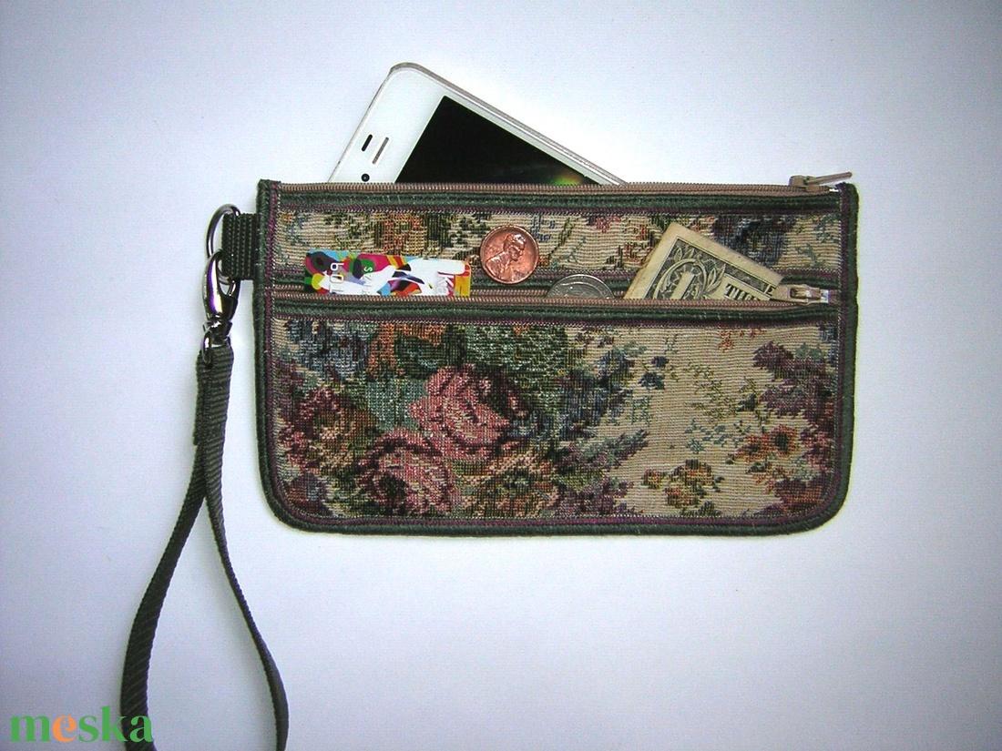 Csuklótáska Mobiltok  cipzáros zsebbel XL telefon tartó Gobeline mintás neszesszer pénztárca - táska & tok - neszesszer - Meska.hu