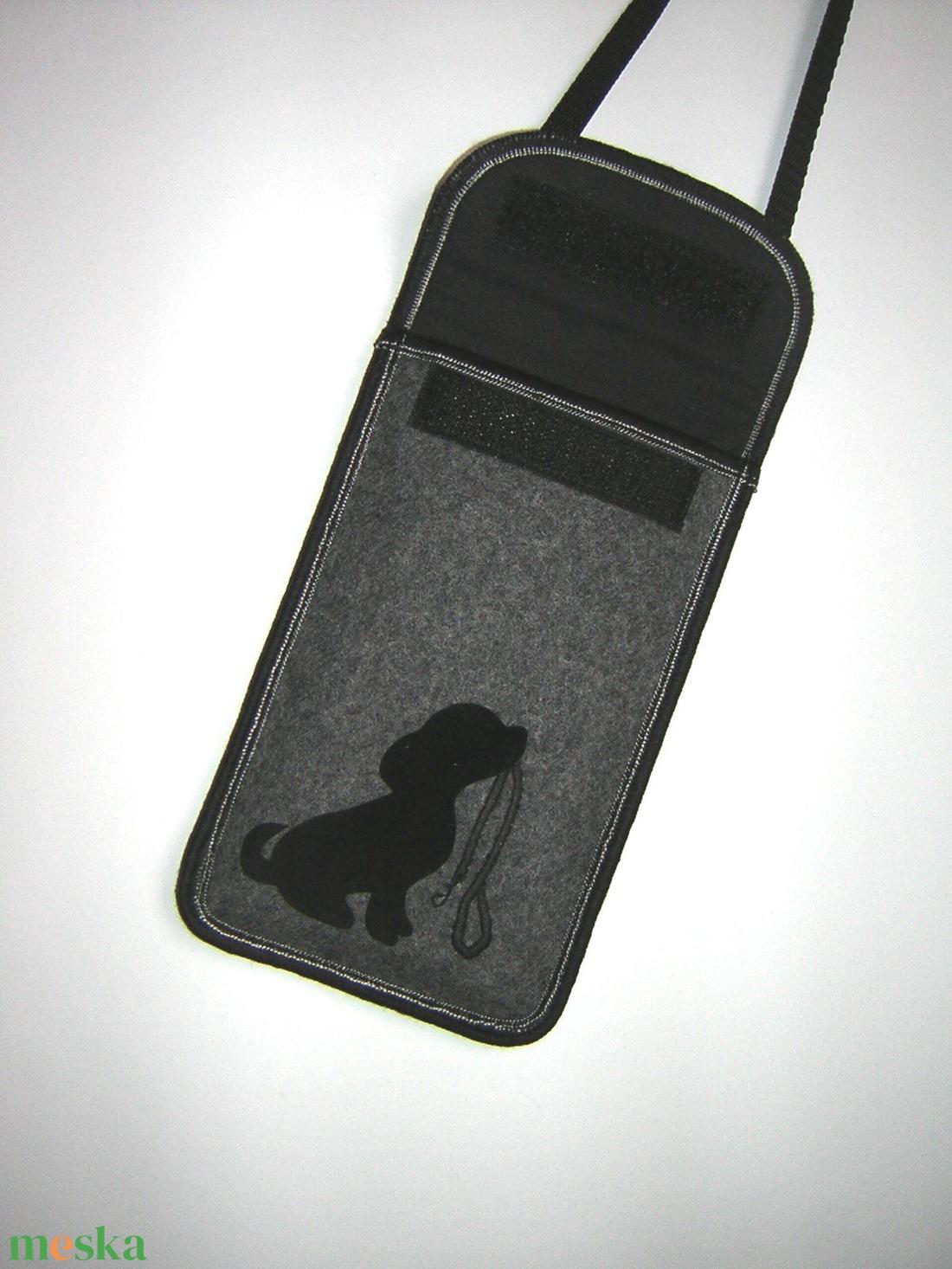 Nyakbaakasztható mobiltok  Plus-os méretű telefonokhoz  XL-es tok állítható pánttal Kutyus pórázzal - táska & tok - pénztárca & más tok - telefontok - Meska.hu