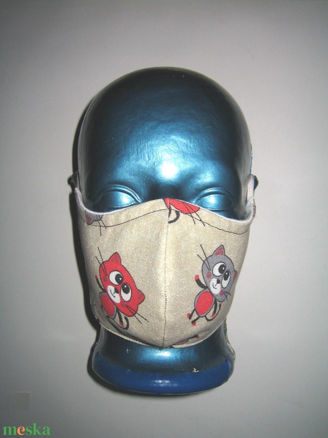 Cicás Szájmaszk szabályozható gumival arcmaszk textil maszk Cica  - maszk, arcmaszk - női - Meska.hu
