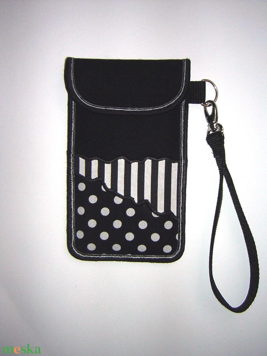 Elegáns csuklón viselhető mobiltok XL-es telefonokhoz fekete-fehér-pöttyös-csíkos - táska & tok - kézitáska & válltáska - csuklótáska - Meska.hu