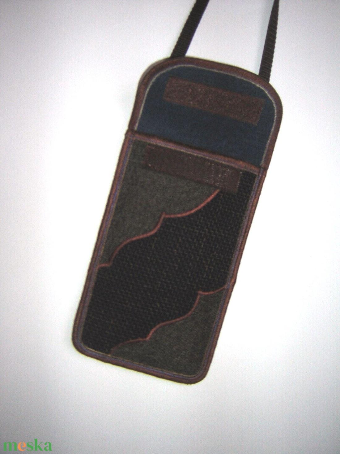 Telefontok állítható pánttal nagy méretű telefonokhoz Barna-Kék - táska & tok - pénztárca & más tok - telefontok - Meska.hu