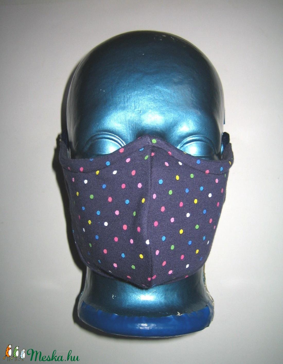 Orrmerevítős Szájmaszk fülre akasztható arcmaszk biciklis maszk sötétkék színes pöttyökkel - maszk, arcmaszk - női - Meska.hu