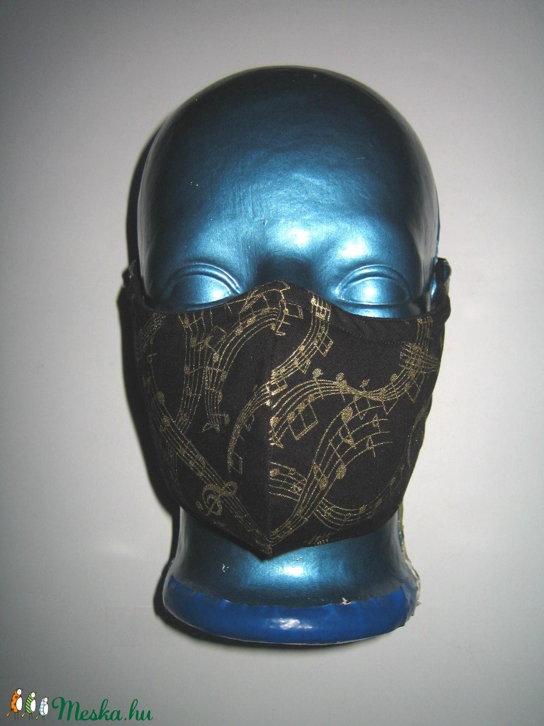 Kottás szájmaszk orrmerevítős arcmaszk 2in1 biciklis maszk  fekete-arany - maszk, arcmaszk - női - Meska.hu