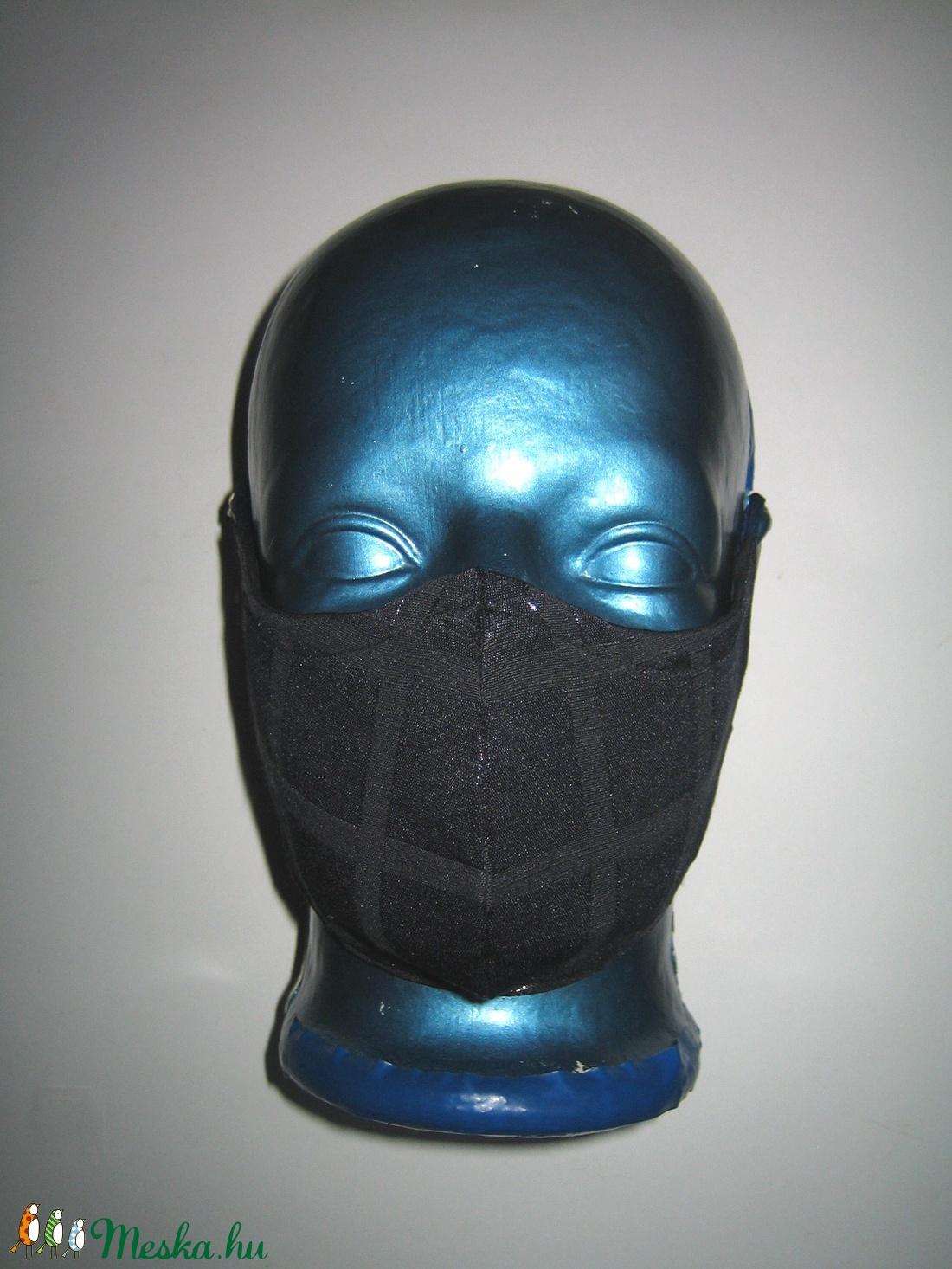 Elegáns szájmaszk fülre akasztható arcmaszk 2in1 textil maszk sötétkék kockás - maszk, arcmaszk - női - Meska.hu