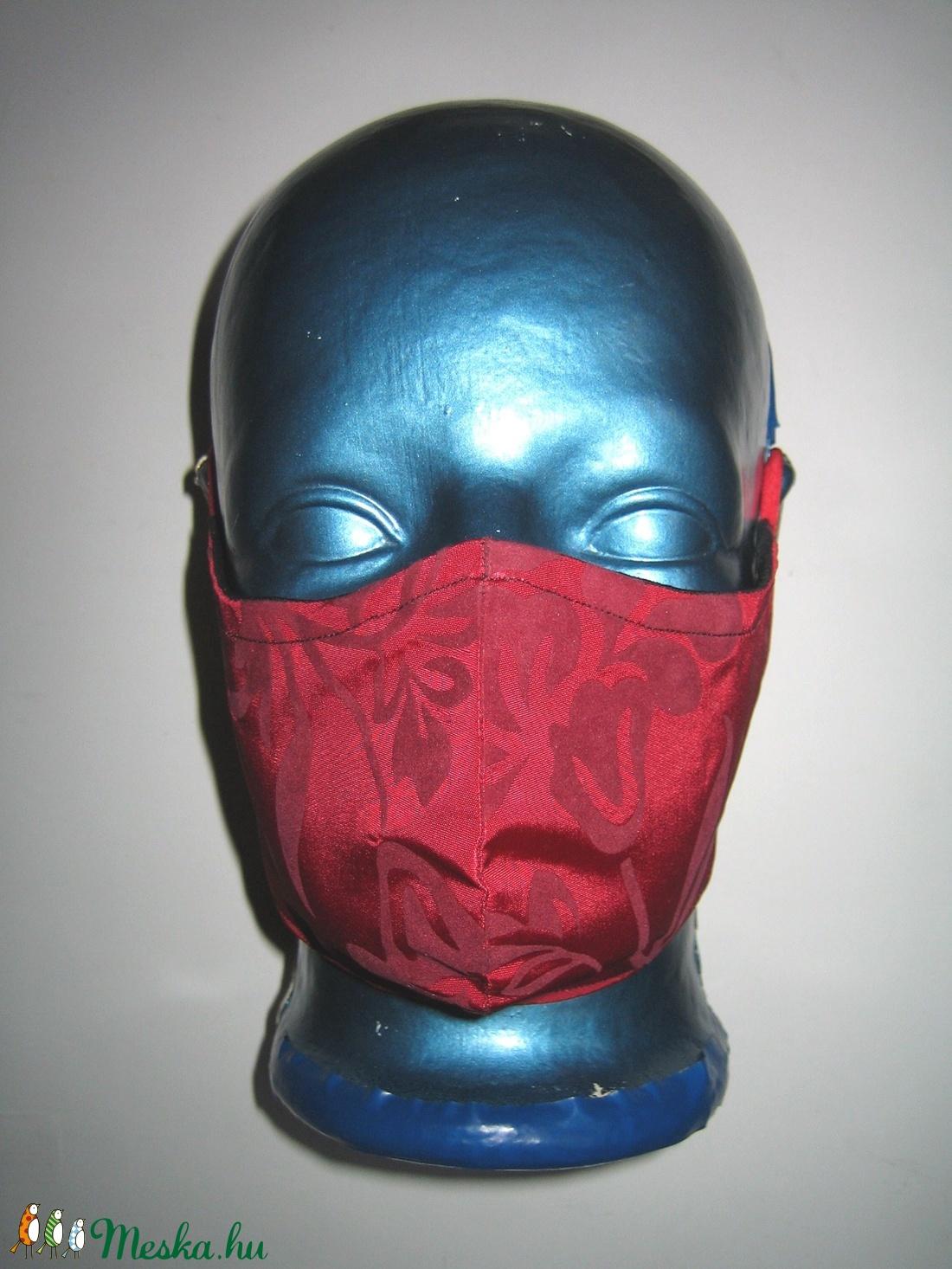 Selyem szájmaszk fülre akasztható exkluzív arcmaszk meggypiros virágos - maszk, arcmaszk - női - Meska.hu