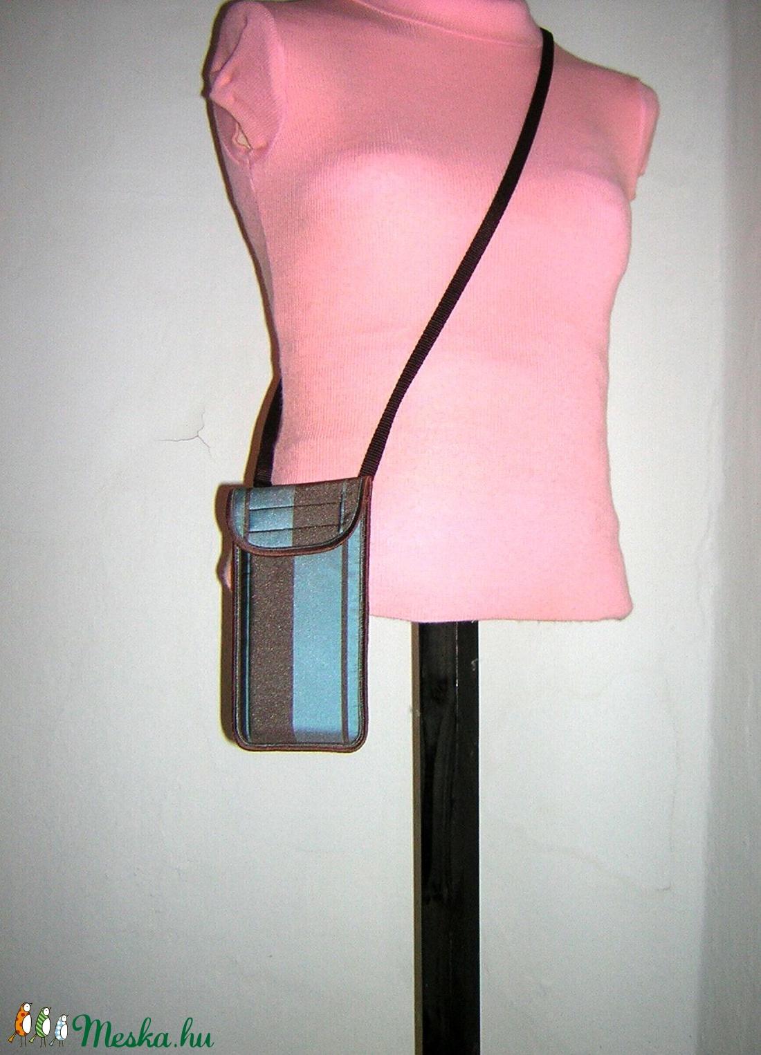 Állítható pántos mobiltok  Plus-os méretű telefonokhoz  türkiz  barna - táska & tok - pénztárca & más tok - telefontok - Meska.hu