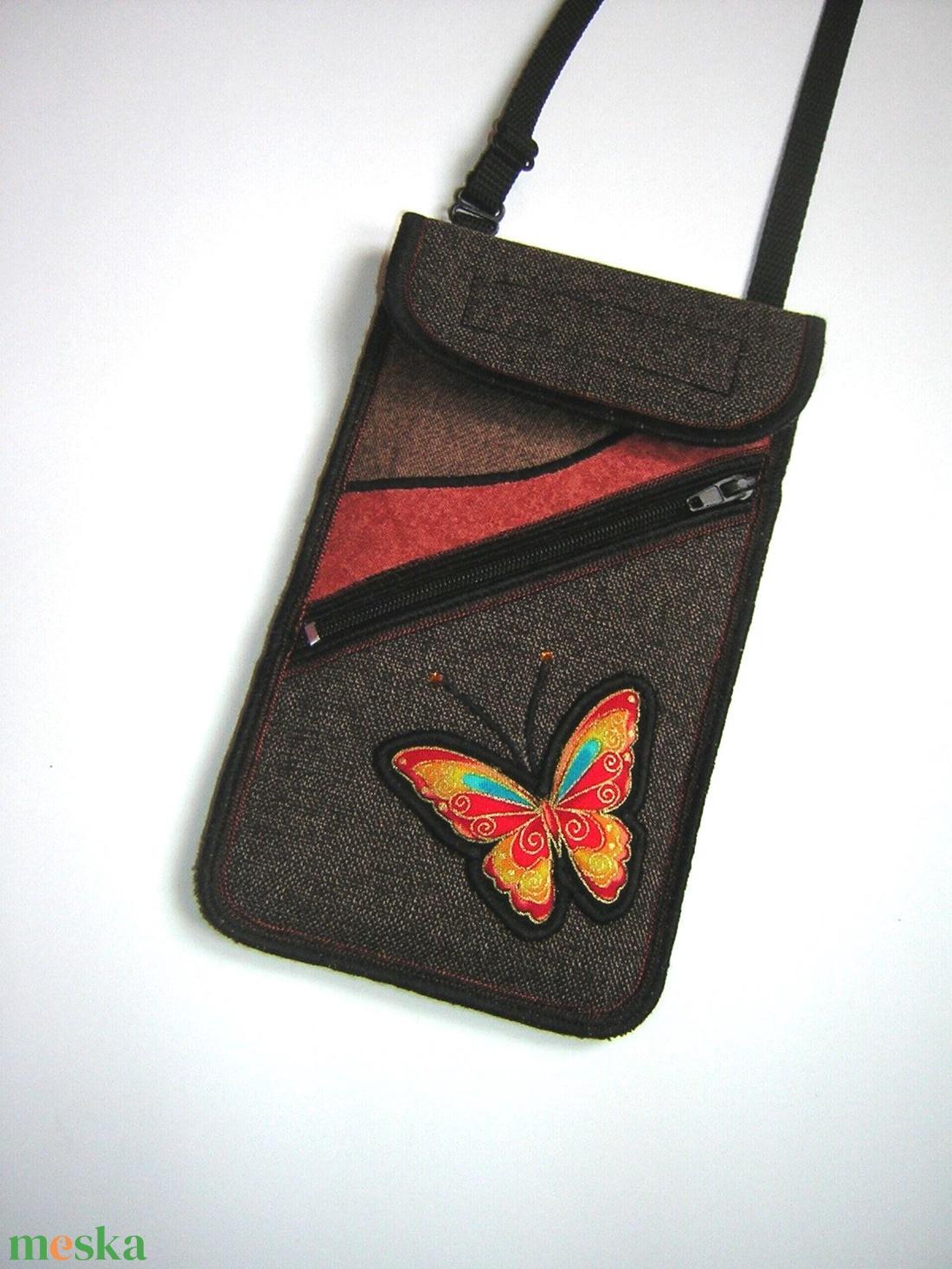 Mobiltok plus-os telefonokhoz elől cipzáros kis zsebbel  Barna Narancssárga lepkés - táska & tok - pénztárca & más tok - telefontok - Meska.hu