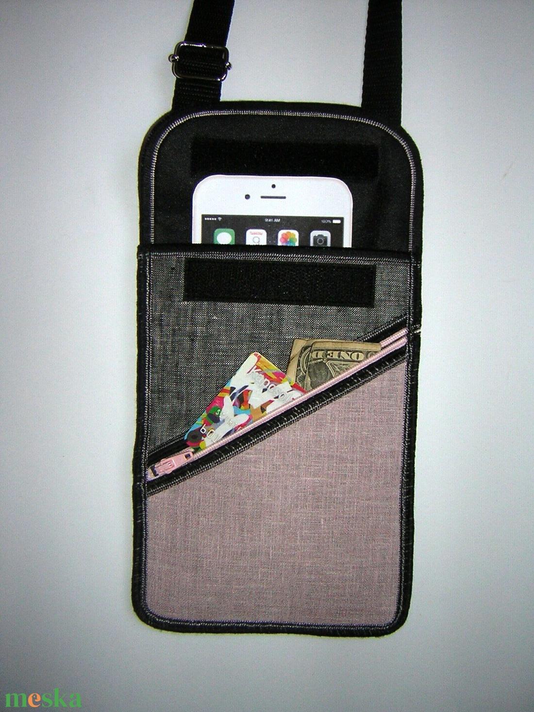 Kétrekeszes Kistáska mobiltok pénztárca irattartó nyakba akasztható púder-szürke - táska & tok - kézitáska & válltáska - vállon átvethető táska - Meska.hu