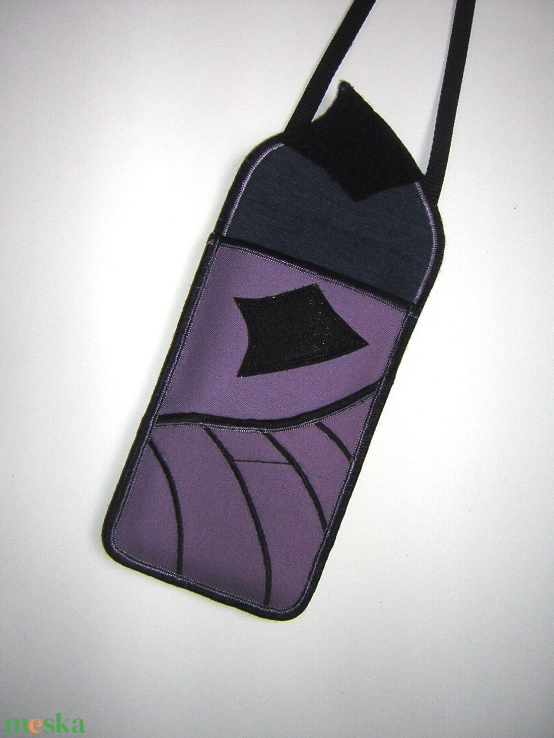 Mobiltok állíthatópánttal Plus-os méretű telefonokhoz Lila leveles  - táska & tok - pénztárca & más tok - telefontok - Meska.hu