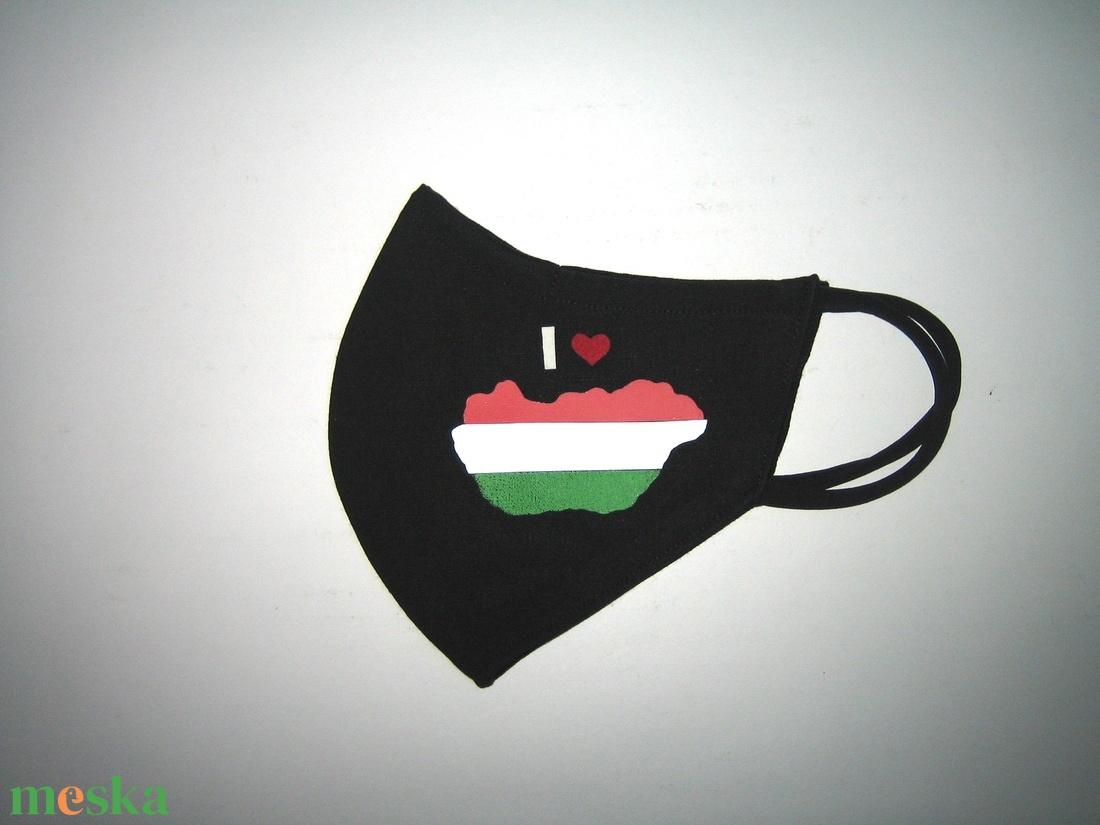 Drótos Szájmaszk fülre akasztható arcmaszk nemzeti textil maszk  I love Magyarország  - maszk, arcmaszk - női - Meska.hu