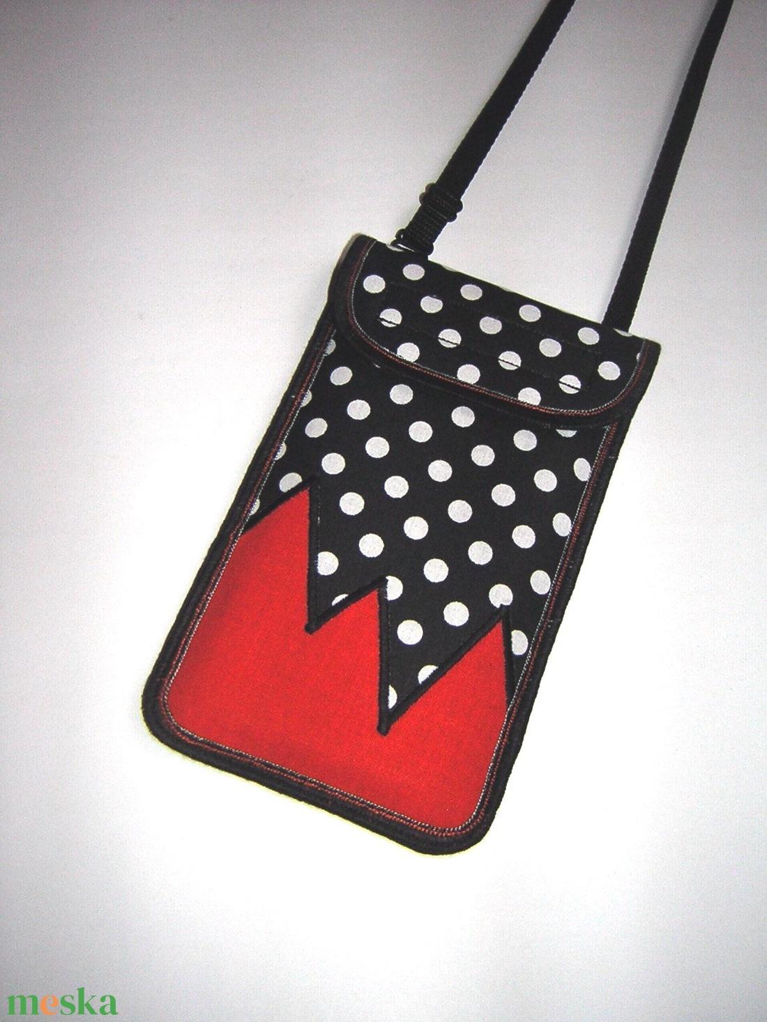 Mobiltok állítható pánttal  XL telefon tartó nyakba akasztható pöttyös - táska & tok - pénztárca & más tok - telefontok - Meska.hu