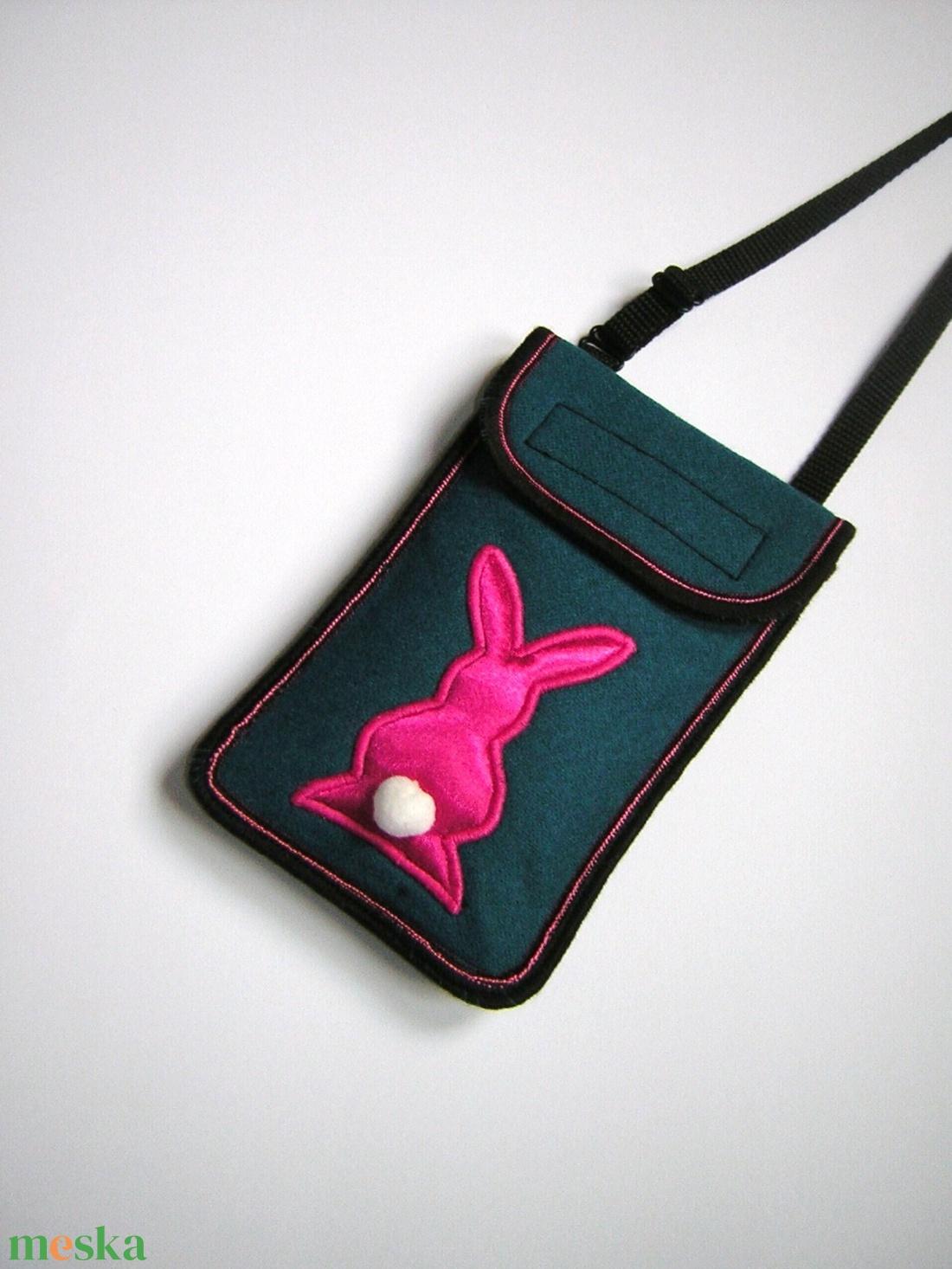 Mobiltok nagyméretű telefonokhoz állítható pánttal  petrolzöld pink nyuszis - táska & tok - pénztárca & más tok - telefontok - Meska.hu