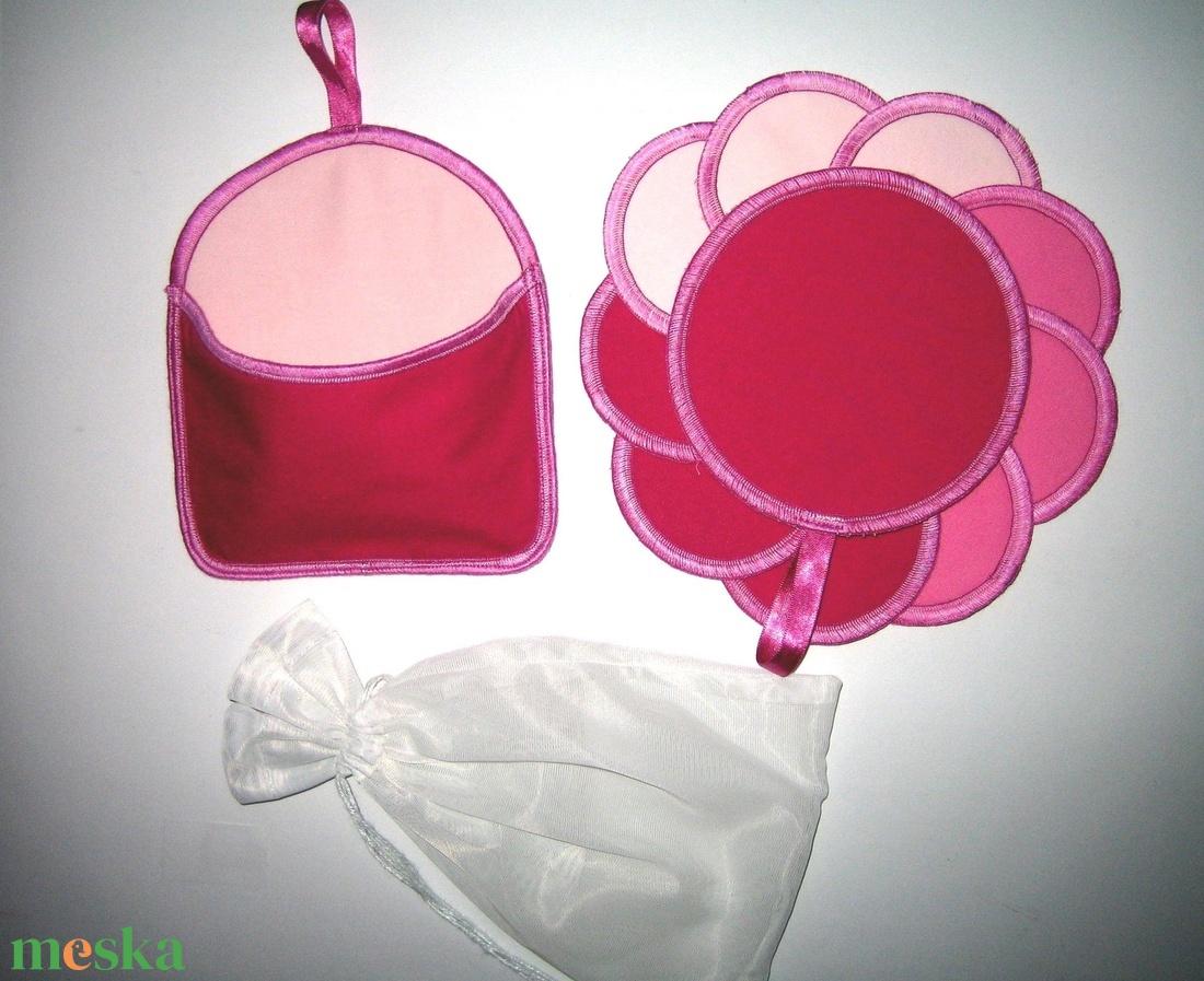 10 db Arctisztító korong tárolóval és mosózsákkal mosható-NoWaste a rózsaszín 3 árnyalata - szépségápolás - arcápolás - arctisztító korong - Meska.hu