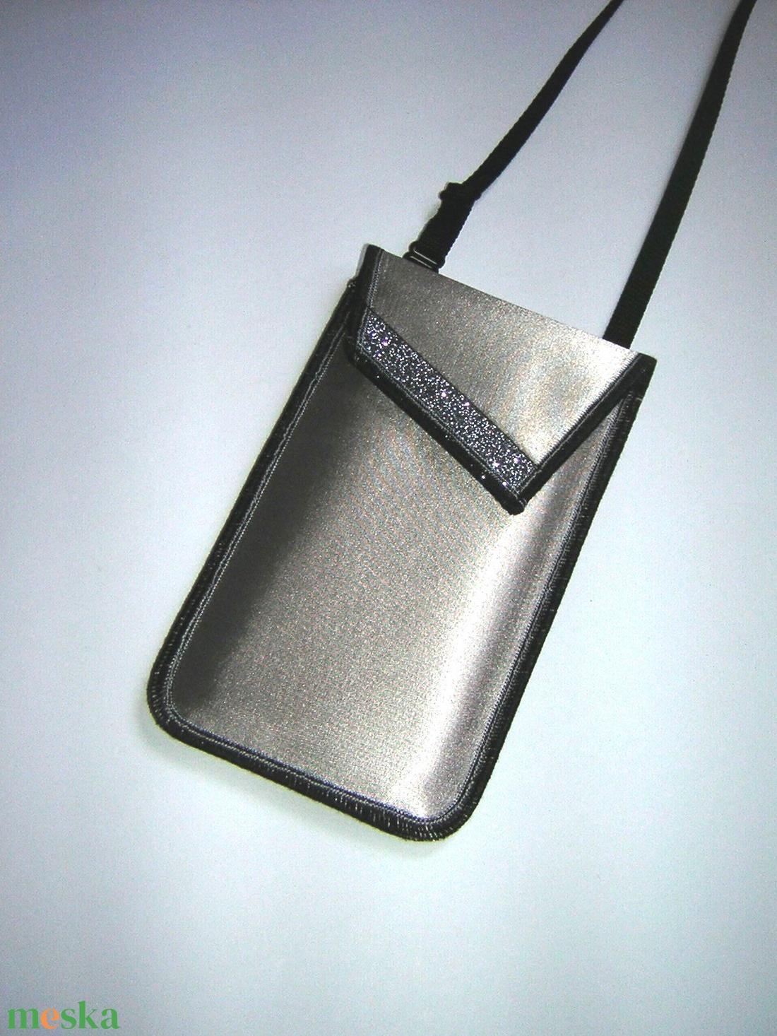 Elegáns Mobiltok állítható pánttal  XL telefon tartó  oldaltáska iPhone kistáska ezüstszürke - táska & tok - pénztárca & más tok - telefontok - Meska.hu
