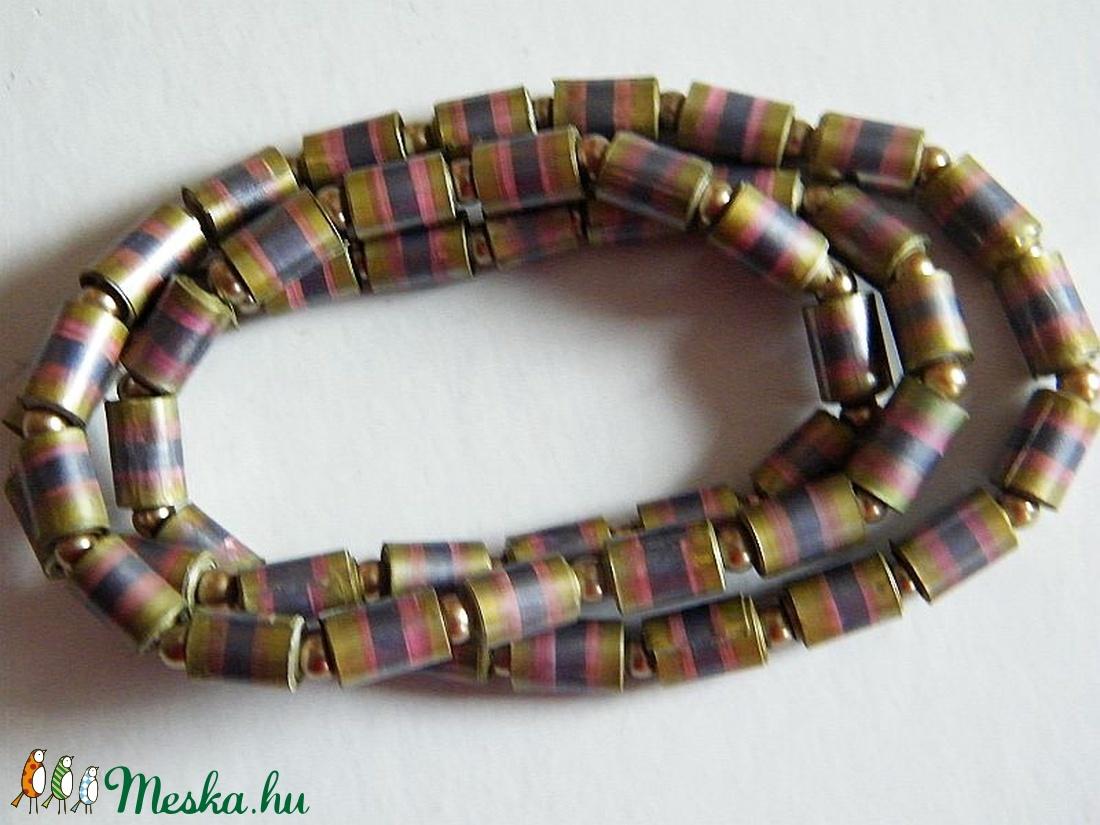 Színjátszó nyaklánc-2 újrahasznosított papírból - ékszer - nyaklánc - medál nélküli nyaklánc - Meska.hu