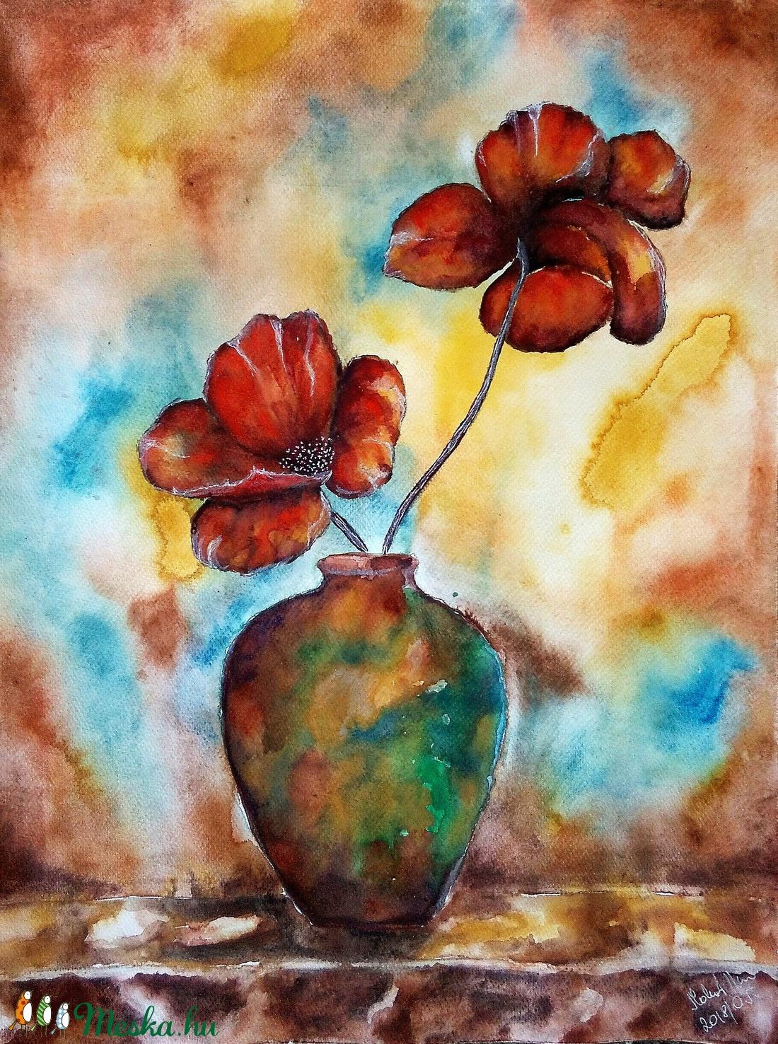 Két szál virágos  - művészet - festmény - akvarell - Meska.hu