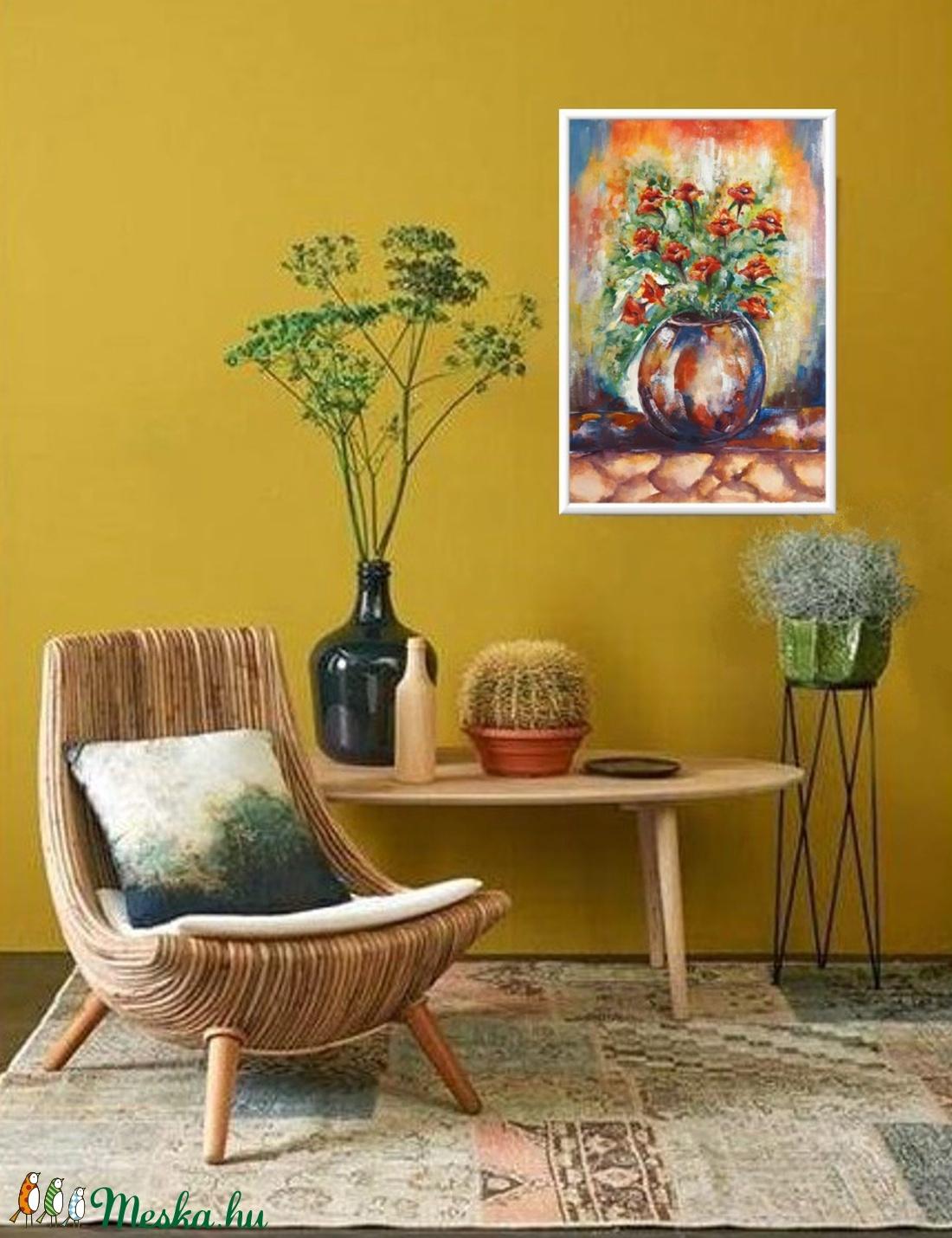 Narancsos vázás  - művészet - festmény - akvarell - Meska.hu