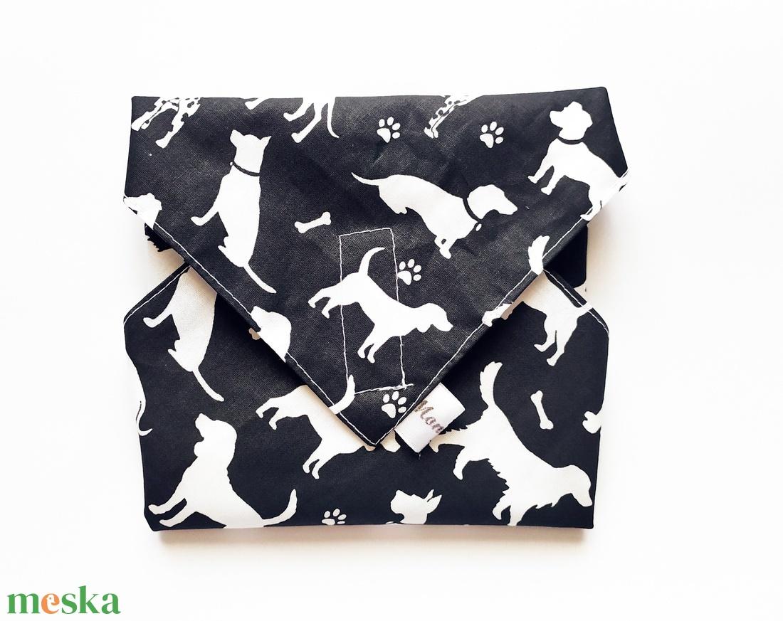 Újraszalvéta, szendvics csomagoló, fekete alapon fehér kutya mintás - ovi- és sulikezdés - uzsonna- & ebéd tartó - szendvics csomagoló - Meska.hu