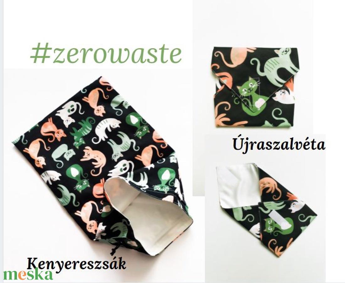 Kenyereszsák és újraszalvéta csomag, cicás - táska & tok - bevásárlás & shopper táska - kenyeres zsák - Meska.hu
