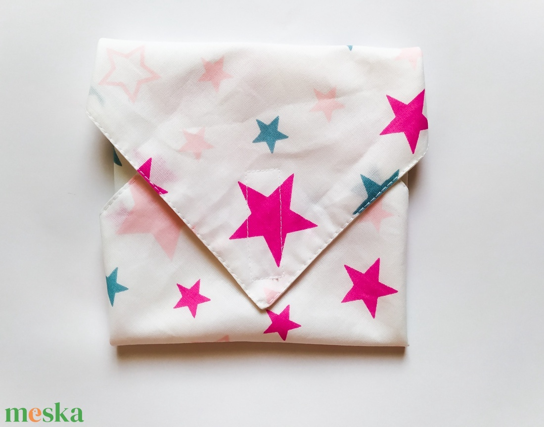 Újraszalvéta, szendvics csomagoló, rózsaszín és kék csillagos - ovi- és sulikezdés - uzsonna- & ebéd tartó - szendvics csomagoló - Meska.hu