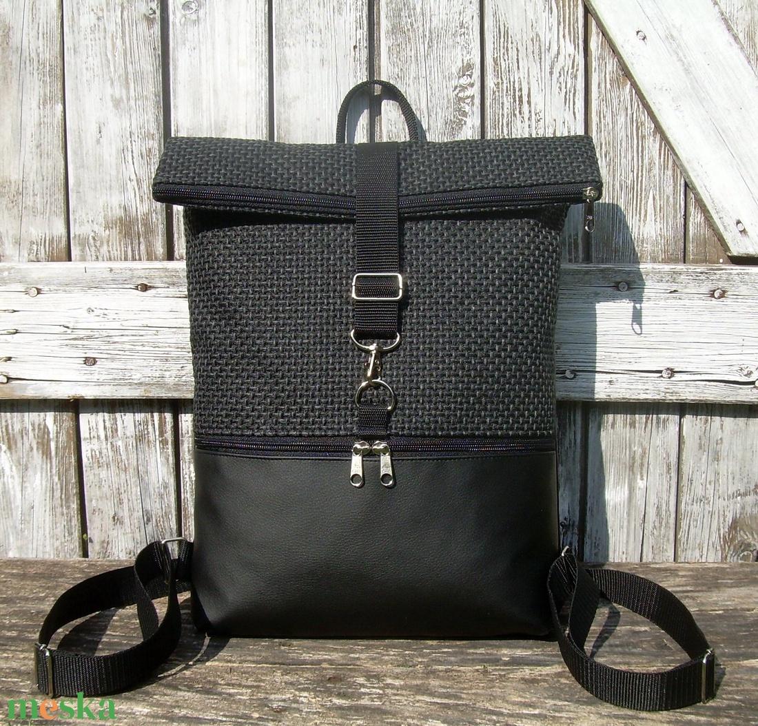 ROLL TOP CITY BAG : Variációk feketére szövettel - táska & tok - hátizsák - roll top hátizsák - Meska.hu
