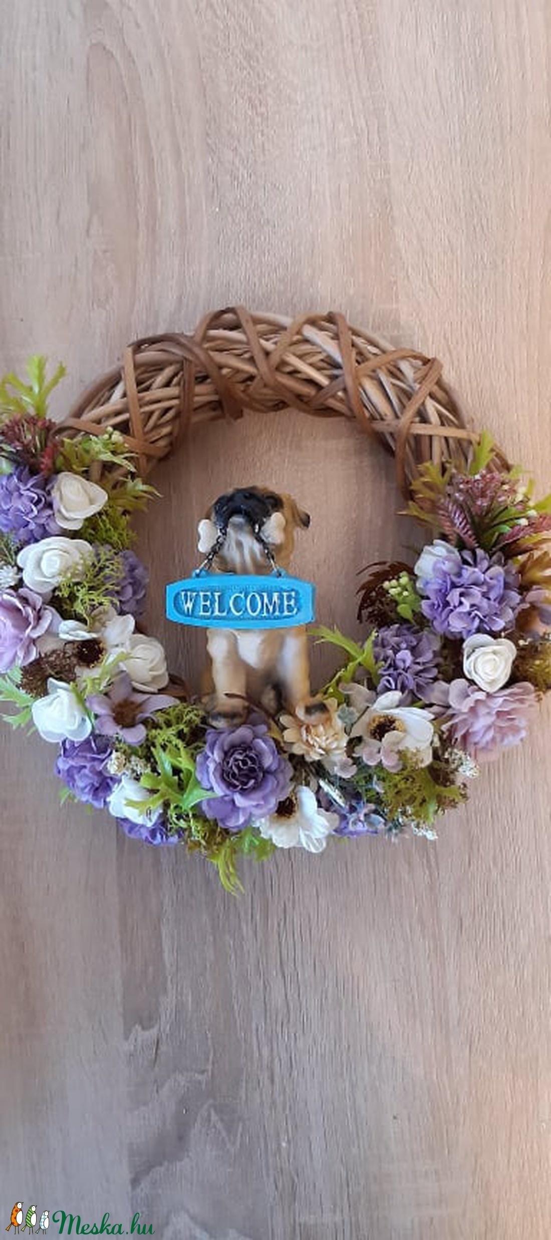 Tavaszi, nyári ajtó kopogtató kutyussal - otthon & lakás - dekoráció - ajtódísz & kopogtató - Meska.hu