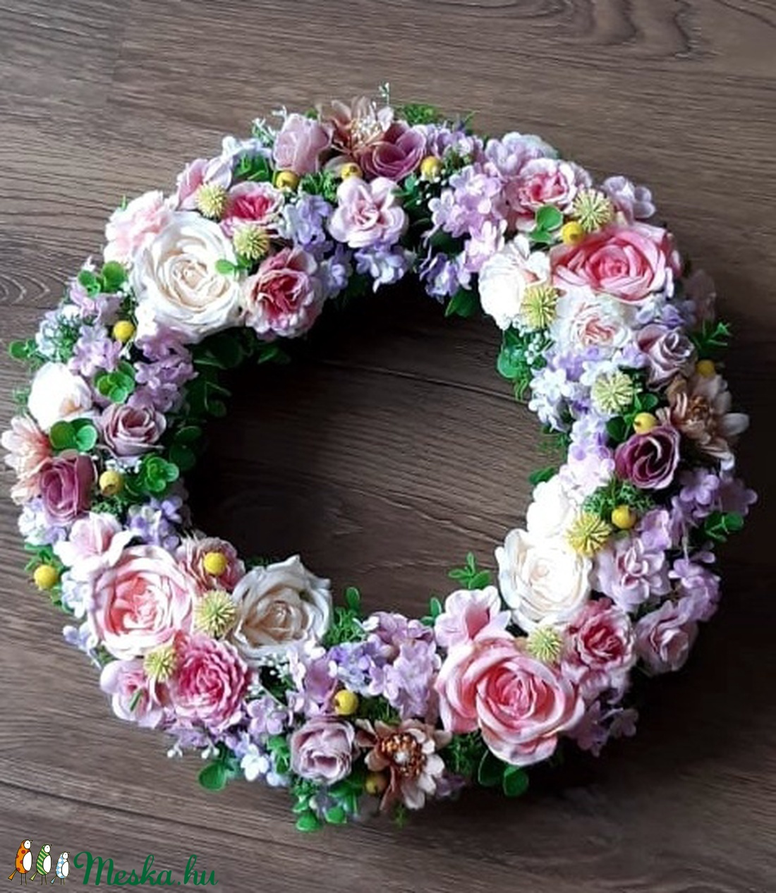 Nagy méretű Tavaszi-Nyári selyemvirág ajtódísz (kopogtató) - otthon & lakás - dekoráció - ajtódísz & kopogtató - Meska.hu