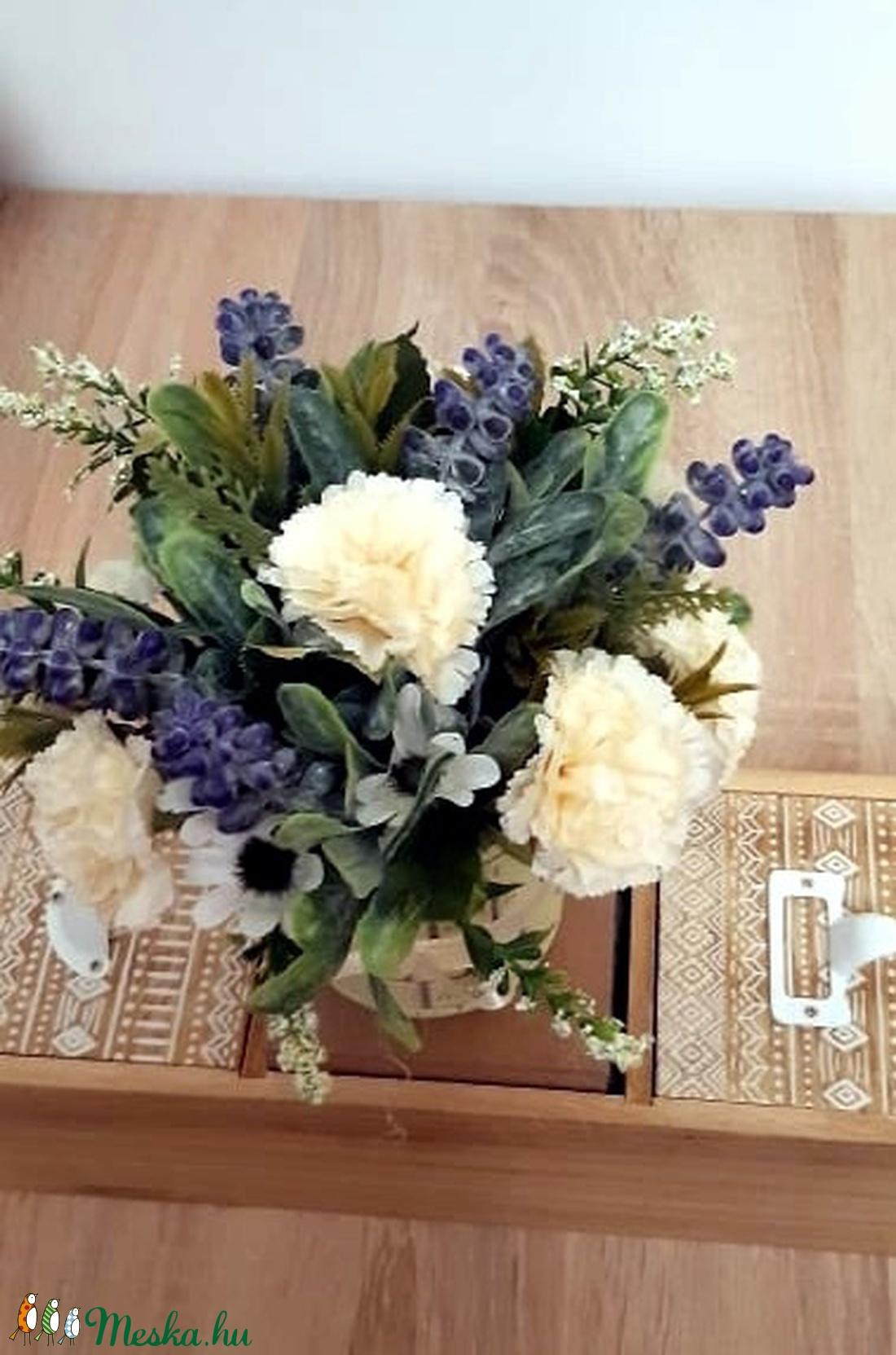 Örök virágcsokor kaspóban - otthon & lakás - dekoráció - asztaldísz - Meska.hu