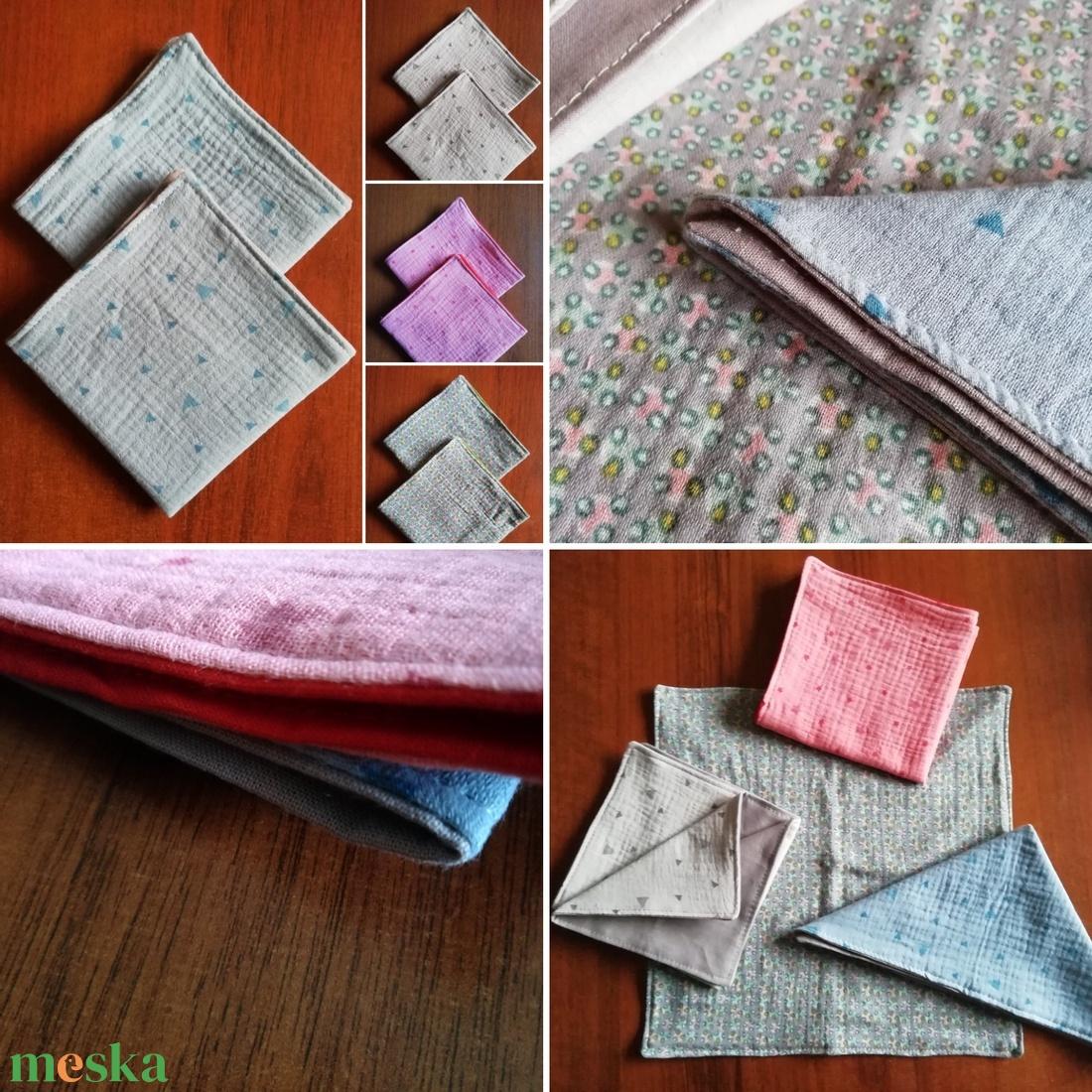 Dupla textilszalvéta, pihepuha nedvszívó duplagézből és pamutvászonból - otthon & lakás - konyhafelszerelés - szalvéta - Meska.hu
