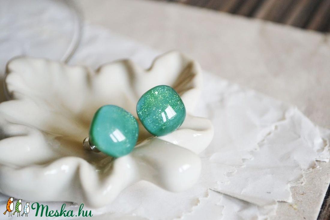 Green storm nyaklánc és fülbevaló - üvegékszer szett - ékszer - ékszerszett - Meska.hu