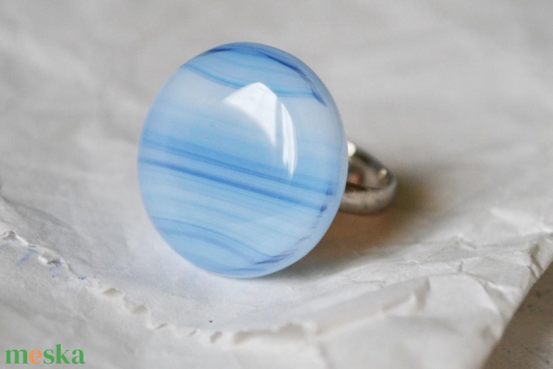 Blue stripes üveg gyűrű - ékszer - gyűrű - statement gyűrű - Meska.hu