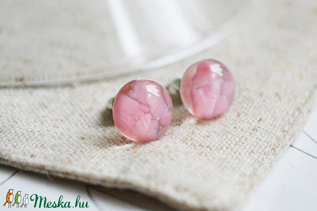 Cseresznyevirágzás nyaklánc, gyűrű és fülbevaló - üvegékszer szett - ékszer - ékszerszett - Meska.hu