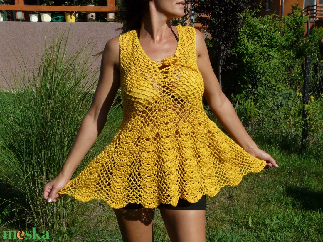 Könnyed sárga tunika - ruha & divat - női ruha - tunika - Meska.hu
