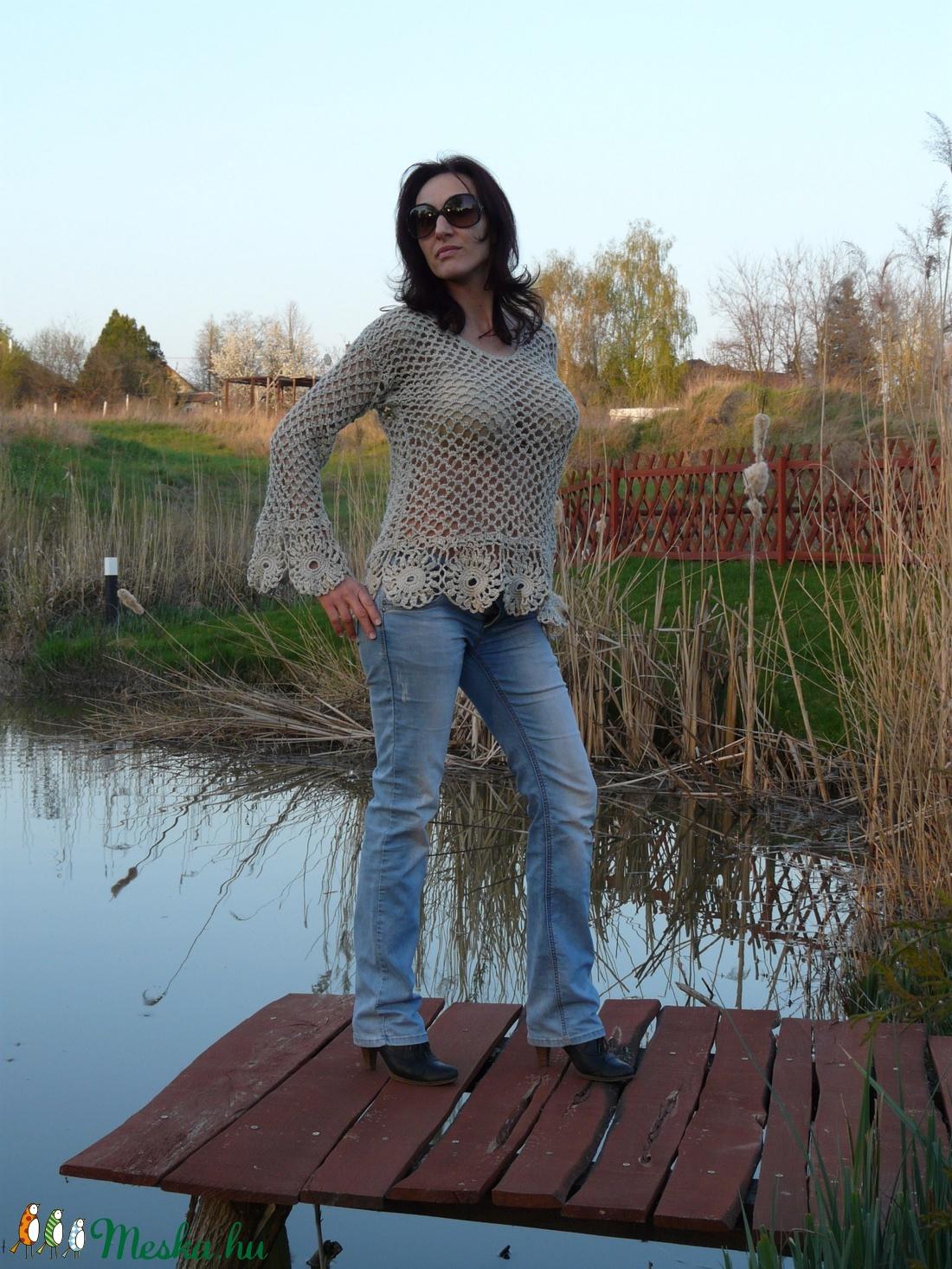 Háló mintás csipke  felső - ruha & divat - női ruha - pulóver & kardigán - Meska.hu