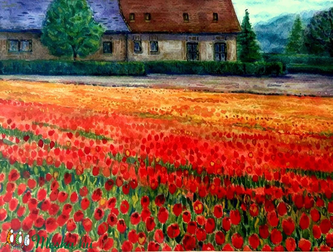 Tulipánok földjén - akvarell keretezve, üvegezve (Nana83) - Meska.hu