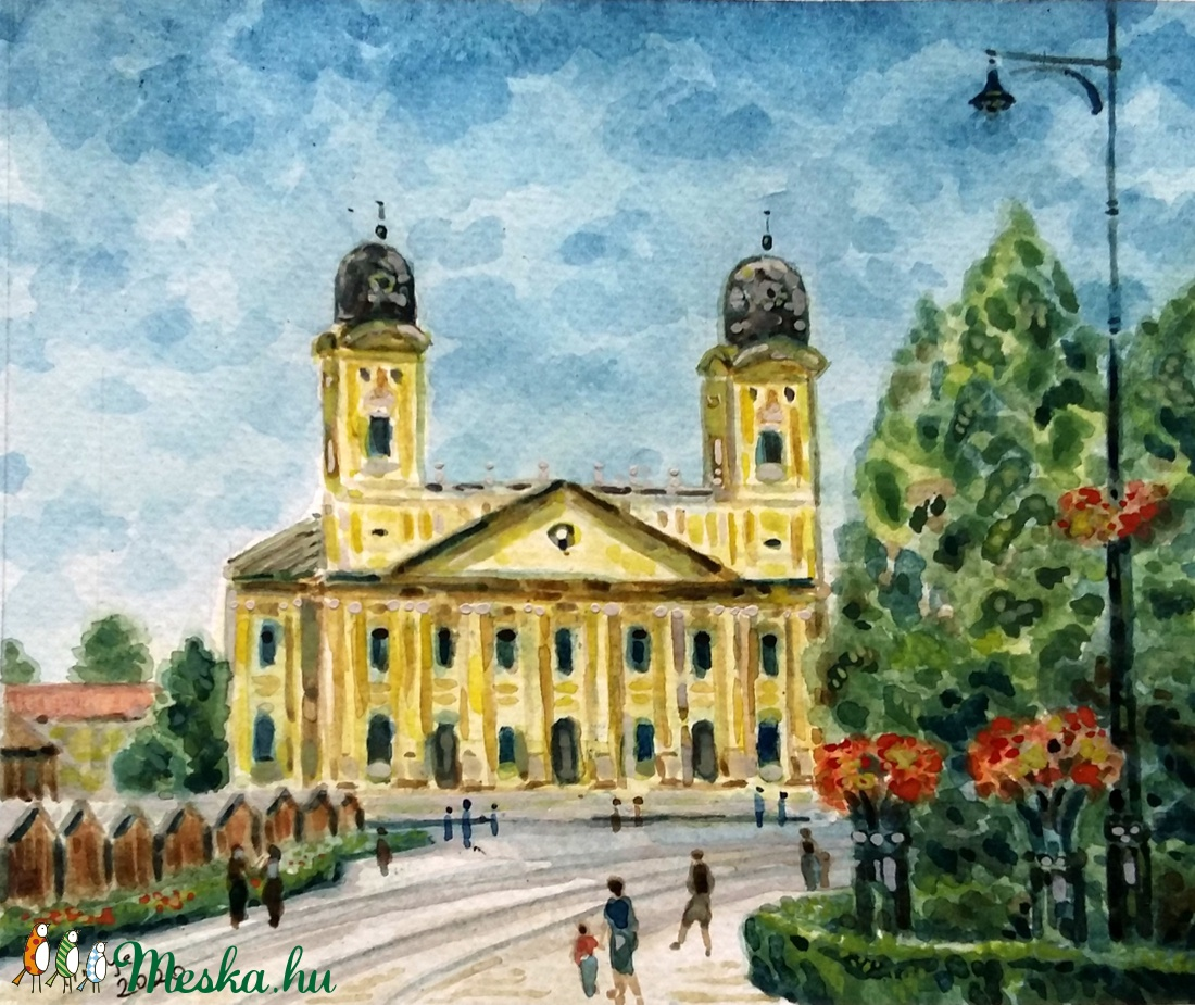 A debreceni Nagytemplom - akvarell keretezve (Nana83) - Meska.hu