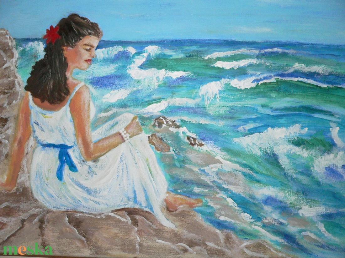 Fehér ruhás nő a parton (Nancy16) - Meska.hu