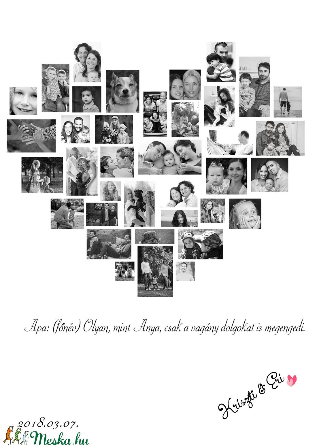 ... apák napja szülinapi poszter A3-as print egyedi fényképes kép fotó  poszter montázs örökkön örökké ... 662b0c5f59