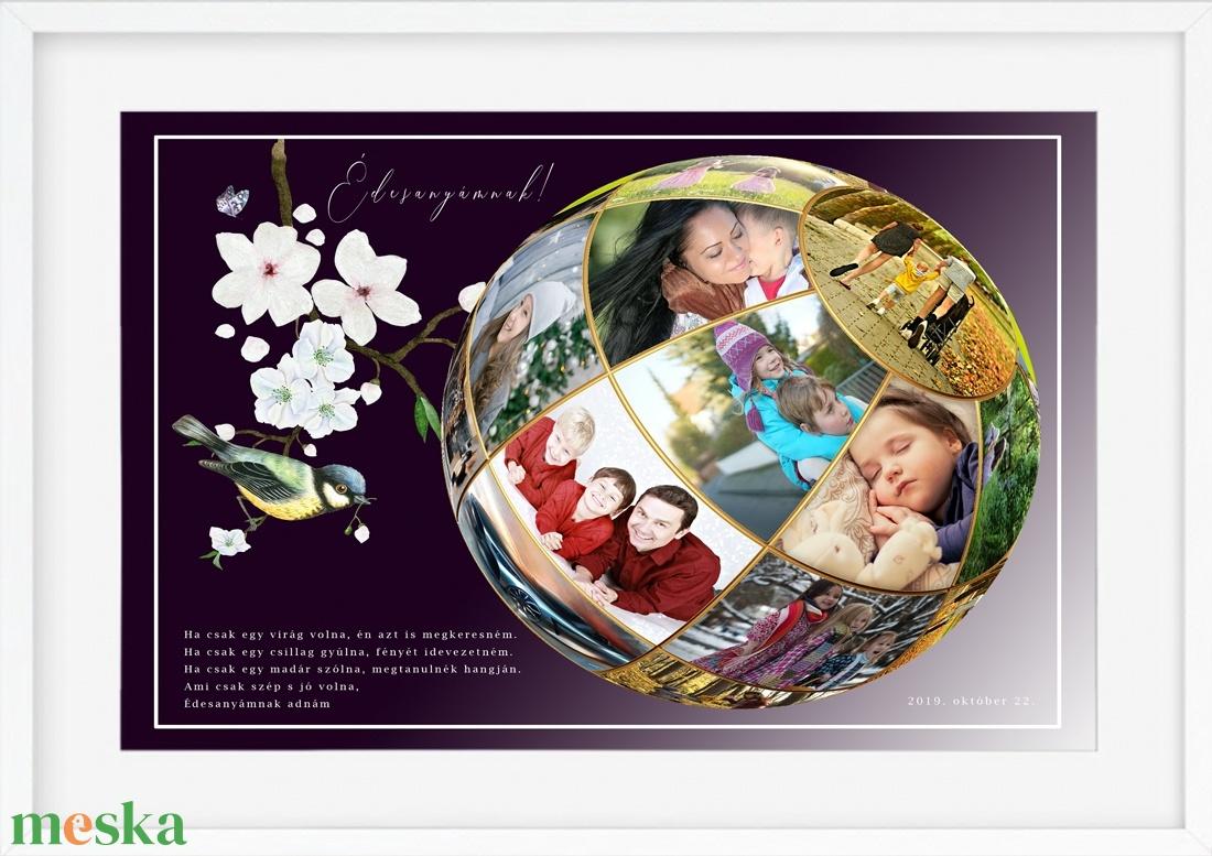Fényképes egyedi szülinapi virág poszter kerettel, Kerekévforduló születésnap, Egyedi édesanya nagyszülő falikép gömb  - otthon & lakás - dekoráció - kép & falikép - Meska.hu