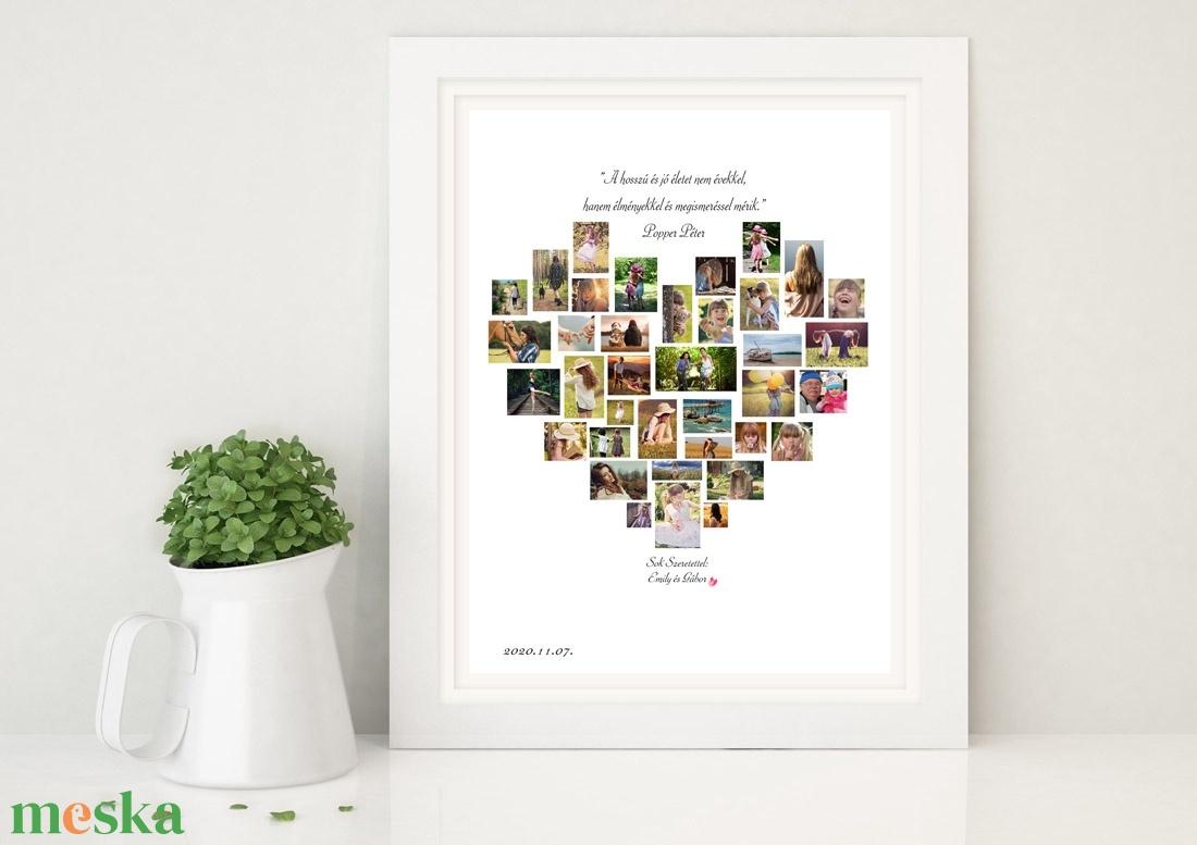 Egyedi szív alakú fényképes szülinapi poszter kerettel, fotókollázs kép montázs, kerekévforduló, nyugdijbamenetel heart - otthon & lakás - dekoráció - falra akasztható dekor - Meska.hu