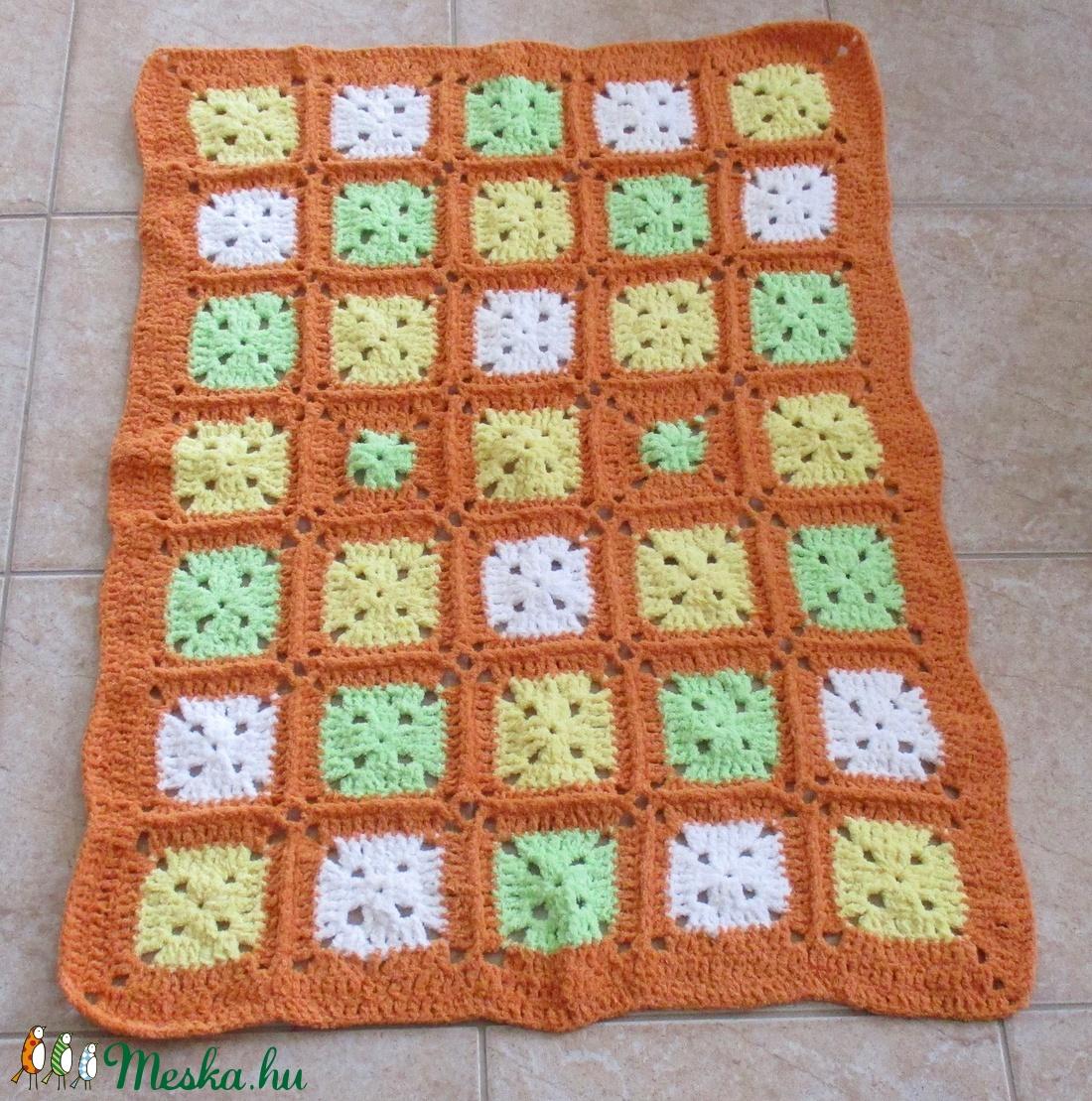 Zöld-sárga-narancs zsenília baba takaró - otthon & lakás - lakástextil - takaró - Meska.hu
