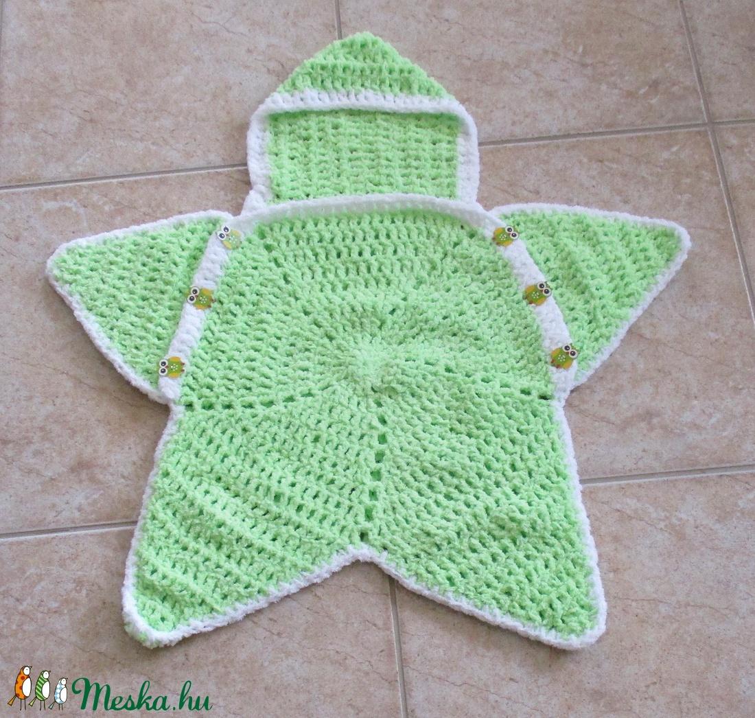 Csillag alakú zöld horgolt babazsák kapucnival - Meska.hu