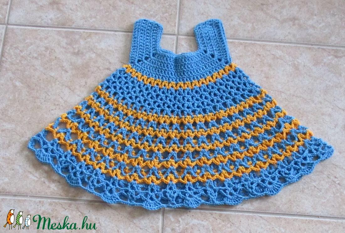 Kék-sárga horgolt kislány ruha - Meska.hu