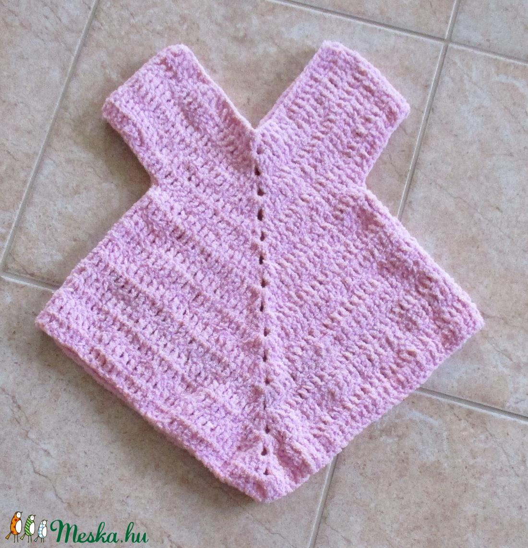 Rózsaszín, horgolt kislány ruha - Meska.hu