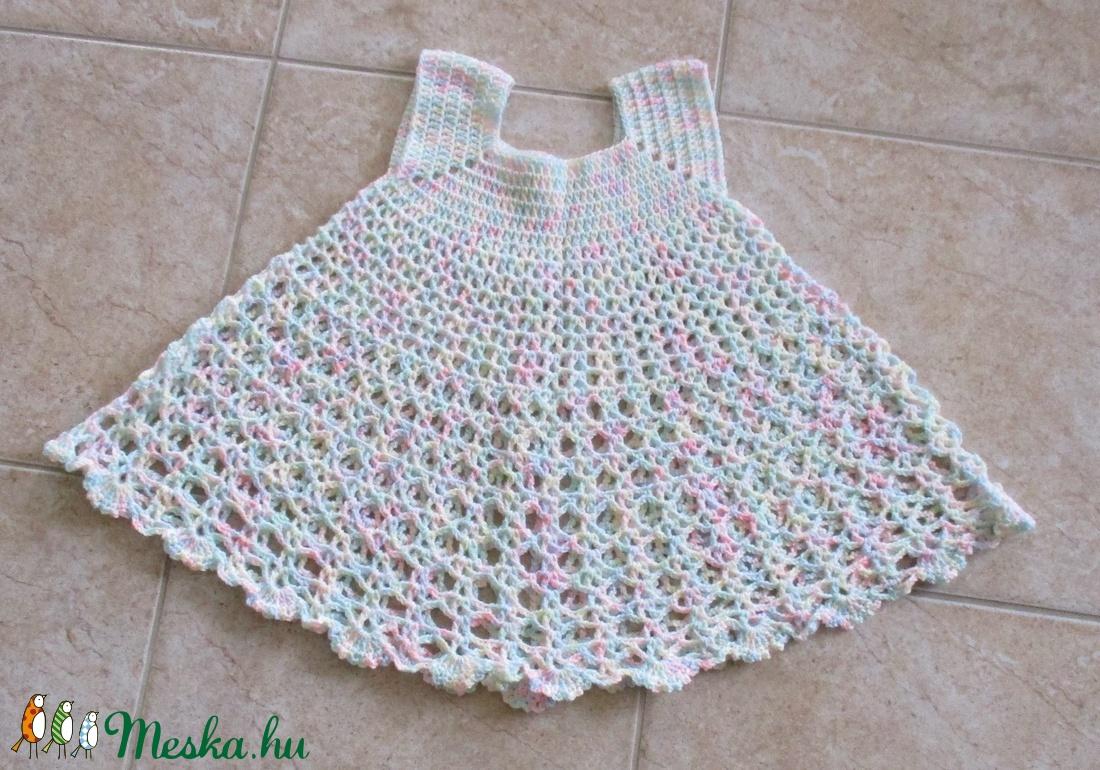 Pasztell színű horgolt kislány ruha - Meska.hu