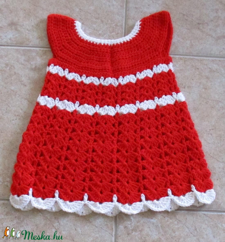 Piros-fehér A vonalú horgolt kislány ruha - Meska.hu