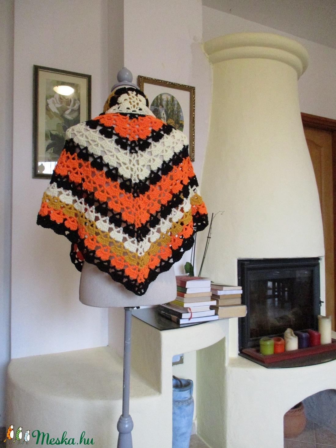 Narancs-sárga-fekete horgolt vállkendő - ruha & divat - sál, sapka, kendő - vállkendő - Meska.hu